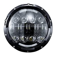 DOT 7 Inch LED Headlight 80W with DRL Halo for Harley Davidson Ultra Classic Electra Glide Street Glide Fat Boy Road King Heritage Softail Switchback Motorcycle Headlamp