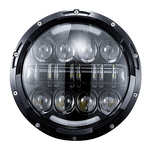DOT 7 inch LED Headlight 80W with DRL Halo for Harley Davidson Ultra Classic Electra Glide Street Glide Fat Boy Road King Heritage Softail Switchback motorcycle ()