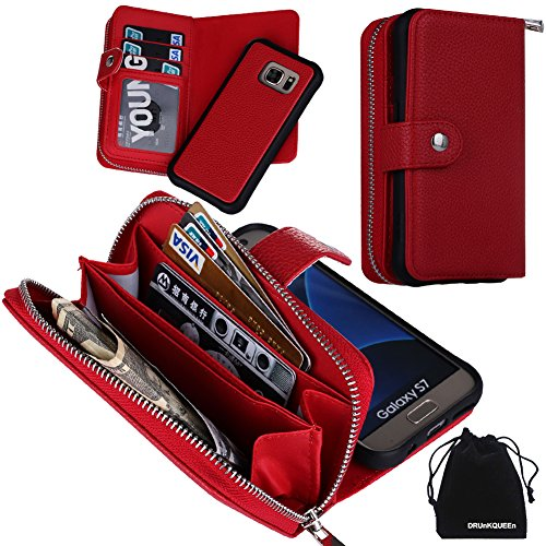 DRUnKQUEEn S7 Case, Zipper Wallet Type Flip Folio Case Premium Leather Credit Card Holder Feature - Detachable Magnetic Back Cover with Lanyard Wrist Hand Strap for G930 Samsung Galaxy S7 - Red