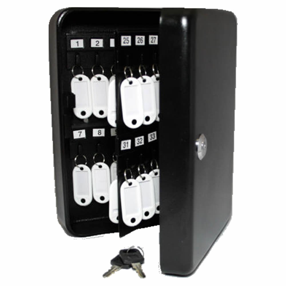 New 48 Key Safe Lock Box Cabinet Wall Mount All Solid Steel Construction, Black