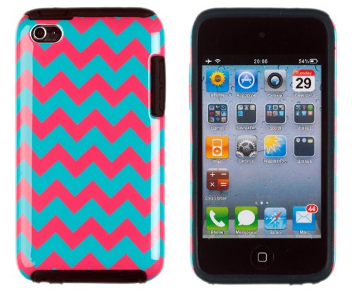 DandyCase 2in1 Hybrid High Impact Hard Aqua & Pink Chevron Pattern + Silicone Case Cover For Apple iPod Touch 4 4G (4th generation) + DandyCase Screen Cleaner