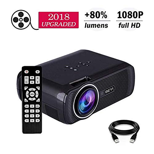 3000 Lumens Video Projecto, BEYI Portable Mini Multimedia Home Video LCD Projector Supports 1080P. Used for Outdoor/Home Theater HDMI, TV, SD Card, AV, VGA, USB, IPhone Android Laptop (with HDIM Cable by BEYI