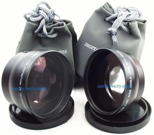 58mm .43X Wide Angle Lens with Macro + 2X Telephoto Lens for Sony Cybershot DSC-H10, DSC-H5, DSC-H3, DSC-H2, DSC-H1, DSC-F828, DSC-F717, DSC-F707 Digital Cameras + DPGear Cleaning (Dsc F707 Accessories)