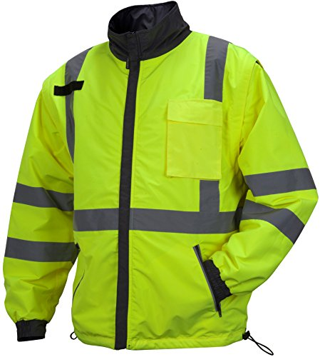 (Pyramex RJR3410L Rjr34 Class 3 Hi-Vis Lime 4-in-1 Reversible Jacket, Large)