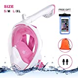 Women Full Face Snorkel Mask, Pink Dry Dive Mask Panoramic Viewing with Anti-Fog and Anti-Leak Design,Detachable for Gopro Mount And Foldable Dry Top Tube Easy Carry, Earplug Free for Adults Lady
