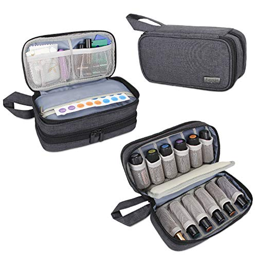 Luxja Essential Oil Carrying Case - Holds 12 Bottles (5ml-15ml, Also Fits for Roller Bottles), Portable Double-Layer Organizer for Essential Oil and Accessories, Black
