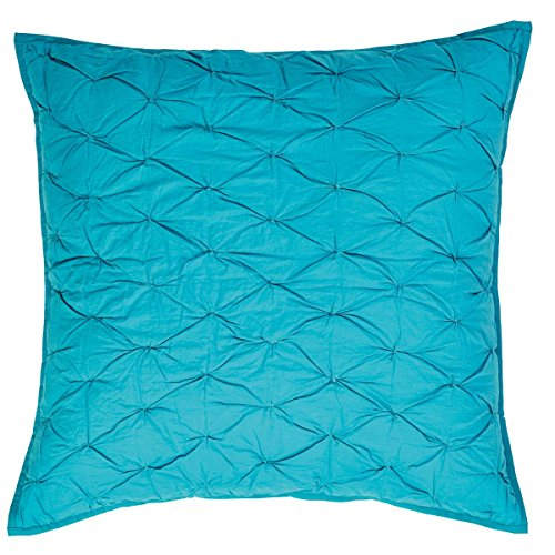 VHC Brands Boho & Eclectic Bedding - Francesca Aqua Blue Quilted Euro Sham (Shams 3 Euro Quilted Pillow)