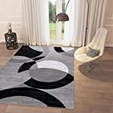 "Black and White Geometric Grey Circles Area Rug 5′ x 7'2"" Casual Modern Rug for Dining Living Room Bedroom Easy Clean Carpet For Sale"
