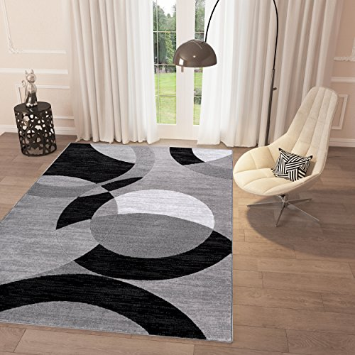 Black and White Geometric Grey Circles Area Rug 5' x 7'2'' Casual Modern Rug for Dining Living Room Bedroom Easy Clean Carpet