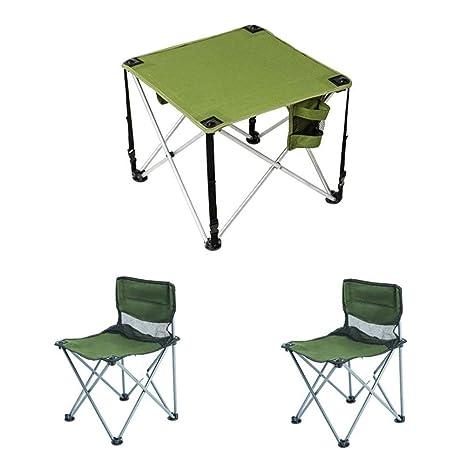 LJFYMX Mesa y sillas de Camping Mesa y Silla Plegables para ...