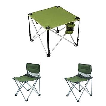 LJFYMX Mesa y sillas de Camping Mesa y Silla Plegables ...