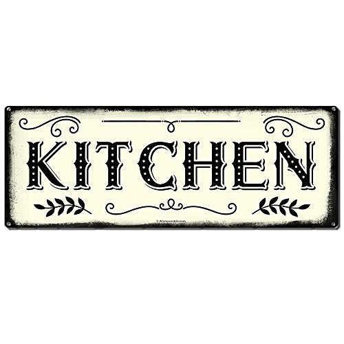 "Kitchen ~ Farmhouse Decor Signs ~ 6"" x 16"" Metal Sign ~ Rustic Vintage Wall Decor for Home, Restaurant, Cafe, Diner & Coffee Shop ~ Gifts for Farmers, Farm Theme Lovers, Housewarming (RK3008_6x16) -"