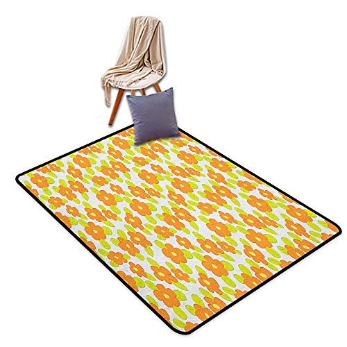 Orange Chandra Rugs - Inner Door Rug Orange Kids Theme Cute Girlish Pattern with Doodle Flowers and Green Leaves Bath Rug W5'xL7'