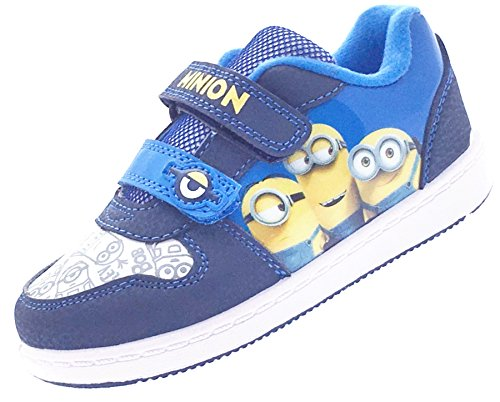 Despicable Me Minions Morton Blue and Yellow Hook and Loop Trainers UK Sizes Child 7 - Adult 1