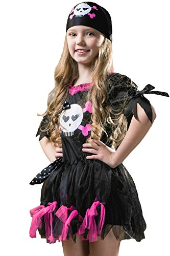 Kids Girls Ghost Pirate Captain Corsair Sceleton Skull Sea Halloween & Dress Up (6-8 years, Black/Purple) (Renaissance Fest Costume Ideas)