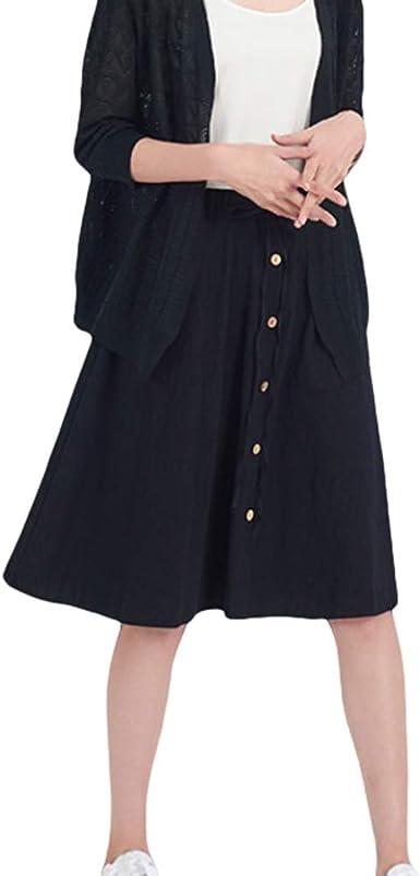 hibote Falda de algodón de Lino Falda de Cintura Alta Faldas de ...
