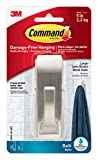 Command Modern Reflections Metal Bath Hook, Large, Satin Nickel, 1-Hook with Water-Resistant Strips (MR03-SN-BES)