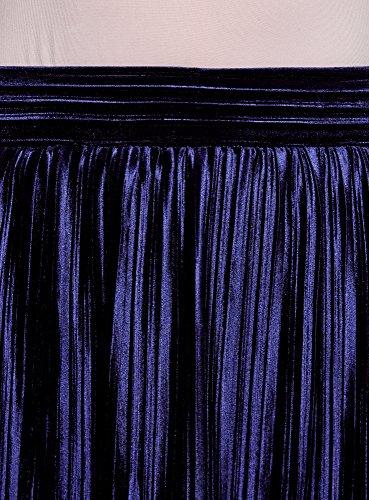oodji 7900n Jupe Femme Collection Plisse Bleu rwgXrqx