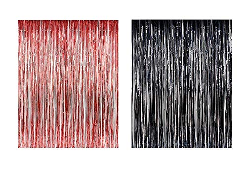 Lobyn Value Packs Black Red Foil Fringe Door & Window Curtain Party Decoration 3' X 8' (36