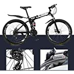 JXH-Bici-di-Montagna-piegante-della-Bicicletta-per-Adulti-Uomini-e-Donne-ad-Alta-Acciaio-al-Carbonio-della-Sospensione-Doppia-Montatura-PVC-Pedali-e-Gomma-GripWhite-21-Speed-26in