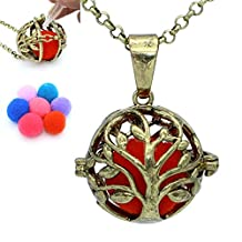 Bronze Tree of Life Hollow Locket Aromatherapy Essential Oil Diffuser Necklace Chain+Cotton Release Balls