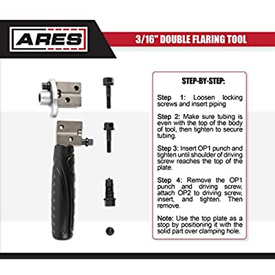 ARES 18025-3/16-Inch Double Flaring Tool - Includes Flaring Tool and Op1/Op2 Punch - for Creating Double Flares on 3/16-Inch Steel, Nickel & Copper Tubing: Automotive