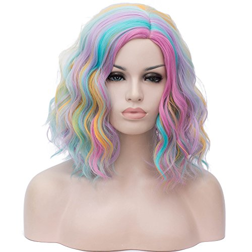 Cying Lin Short Wavy Curly Women Wigs Rainbow Colorful Wig For Women Lolita Cosplay Halloween(Rainbow-colored)+Wig -