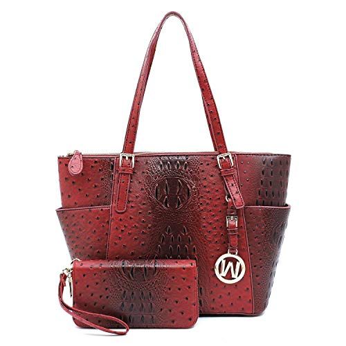 Vegan Faux Leather 2 PC Set Ostrich Croco Embossed Tote Shoulder Bag shopper with Matching Wallet (Burgundy)
