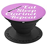 Clarinet Player Gift - Eat Sleep Clarinet Repeat - Purple - PopSockets Grip and Stand for Phones and Tablets