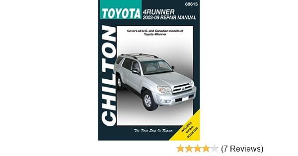 amazon com chilton toyota 4runner 2003 thru 2009 repair manual rh amazon com Toyota 4Runner Owners Manual PDF 1996 4Runner Service Manual