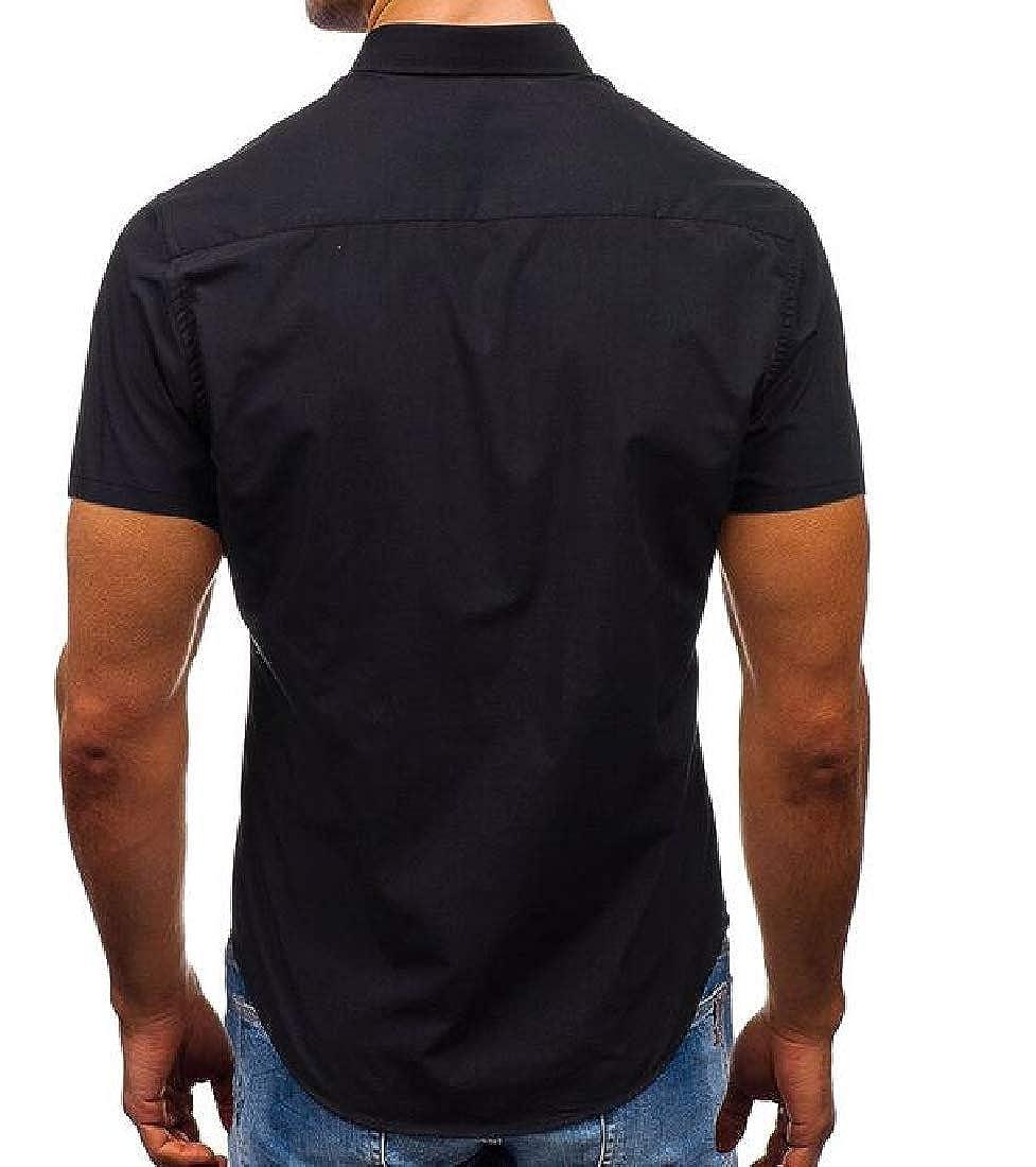 Joe Wenko Mens Button Down Fashion Slim Business Summer Short Sleeve Shirts