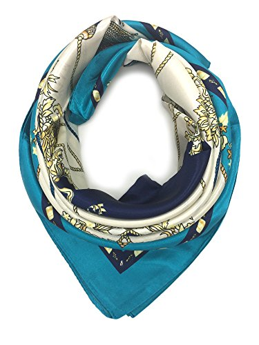 YOUR SMILE Silk Like Scarf Women's Fashion Pattern Large Square Satin Headscarf (205)