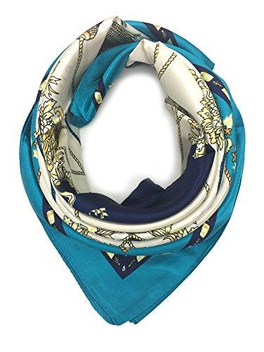 - YOUR SMILE Silk Like Scarf Women's Fashion Pattern Large Square Satin Headscarf (205)