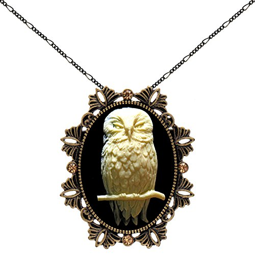 Owl Brooch Animal Necklace Two Way Functional Antique Brass Pendant 18'' 24'' Chain Pouch for Gift by Yspace