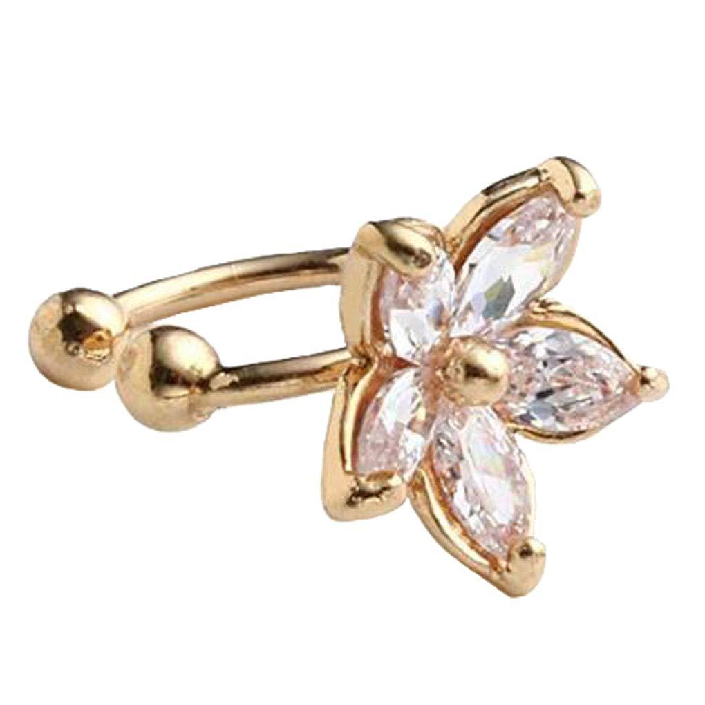 Women Girls 2pc CZ Crystal U Shaped Flower Non Pierced Clip On Earrings Stud Cuff Ear Cartilage Gift MOOYZ FACTORY Charm-Clip-0141Silver