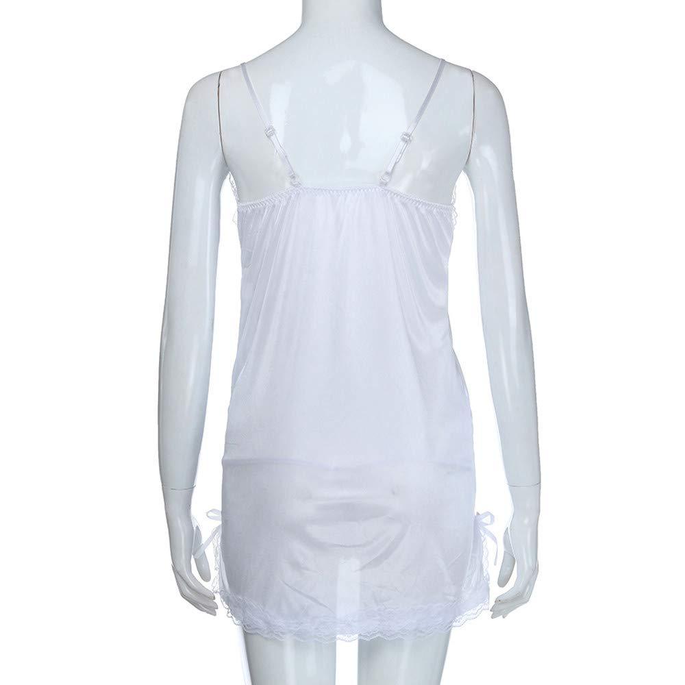 Vestido de Noche de Encaje para Mujer de Tallas Grandes Ropa Interior de Arco Picardias Camisón para Dormir Vestir Pijamas de tentación Amlaiworld: ...