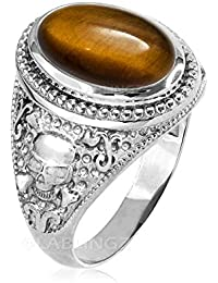 14K White Gold Skull and Bones Tiger Eye Statement Ring