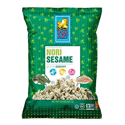 Pop Art Snacks Popcorn Nori Sesame, 5 oz, 9 Pack ()