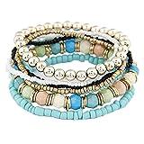 Doinshop 1 Set 7pcs Elegant Boho Ankle Chain Multilayer Beads Wrist Strap Bracelet (sky blue)