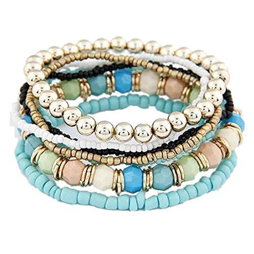 Susenstone1 Set 7Pcs Boho Wholesale Multilayer Acrylic Beads Beach Bracelet (Brown)