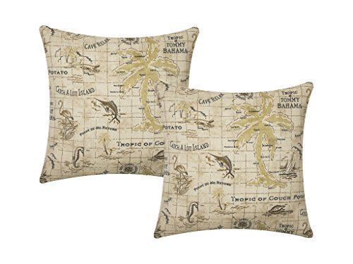 Outdoor Pillows Throw Pillow Covers Decorative Couch Cushions Beach Decor Nautical Map 18