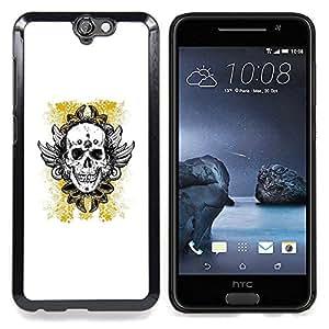 """For HTC One A9 Case , Oro amarillo del motorista de la tinta del tatuaje de cráneo"""" - Diseño Patrón Teléfono Caso Cubierta Case Bumper Duro Protección Case Cover Funda"""