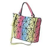 Kyпить HotOne Luminous Shard Lattice geometric purse Women Shoulder Bag PU Leather Handbag (Rainbow) на Amazon.com