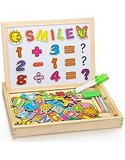 DOOKEY Puzzles Rompecabezas Magnéticos de Madera Juguete Educativo Tablero de Dibujo de Doble Cara para Niños Niña 3 Años 4 Años 5 Años - Acerca de 100 Piezas (Número y Letra)