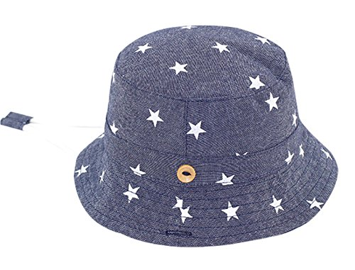 - Kids Baby Lovely Spring Summer Cap with Chin Strap Stars Stripes Cotton Sun Protection Bucket Hat Packable 12-24 Months Dark Blue
