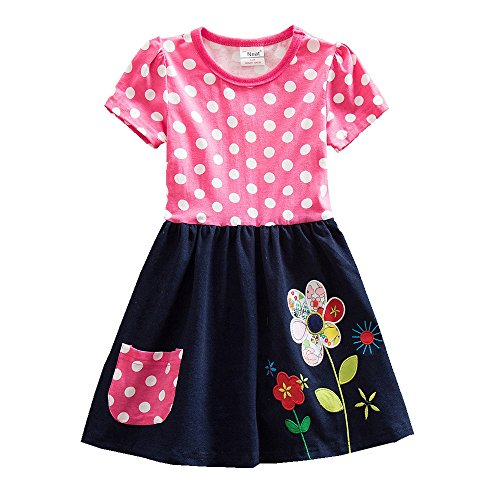 JUXINSU Cotton Girls Short Sleeve Wave Point Flowers Dresses for Summer Baby Girl Kids Clothes 3-8 Years SH5748 (Red, 4t) (Nova Baby Girls)