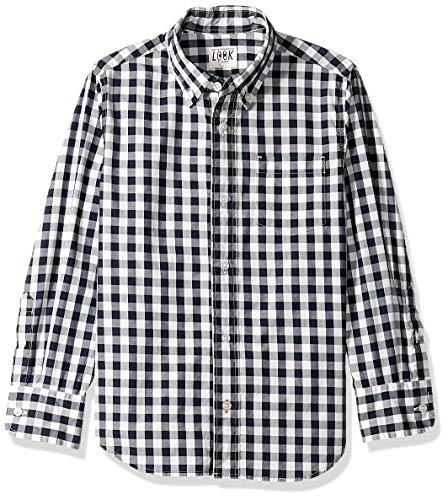 LOOK by Crewcuts Boys' Long Sleeve Gingham Shirt, Navy Check, XX-Large ()