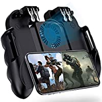 4 Trigger Mobile Game Controller with Cooling Fan for PUBG/Call of Duty/Fotnite [6 Finger Operation] YOBWIN L1R1 L2R2 Gaming Grip Gamepad Mobile Controller Trigger for 4.7-6.5″ iOS Android Phone