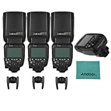 YONGNUO YN600EX-RT II Professional Creative TTL Master Flash Speedlite for Canon Camera (3pcs) 2.4G Wireless 1/8000s HSS + YN-E3-RT Speedlite Transmitter for Canon Cameras with Andoer Cleaning Cloth