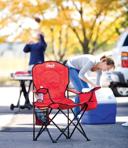 Coleman Cooler Quad Portable Camping Chair, Red